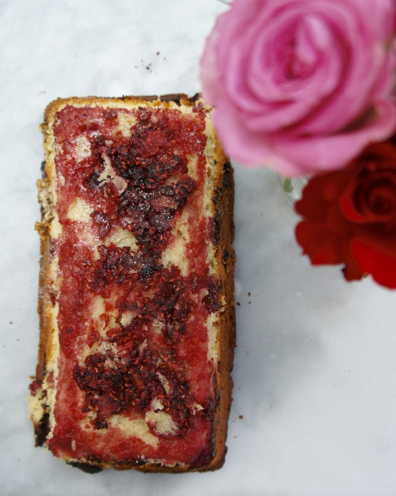 Raspberry And Coconut Upside Down Loaf Cake