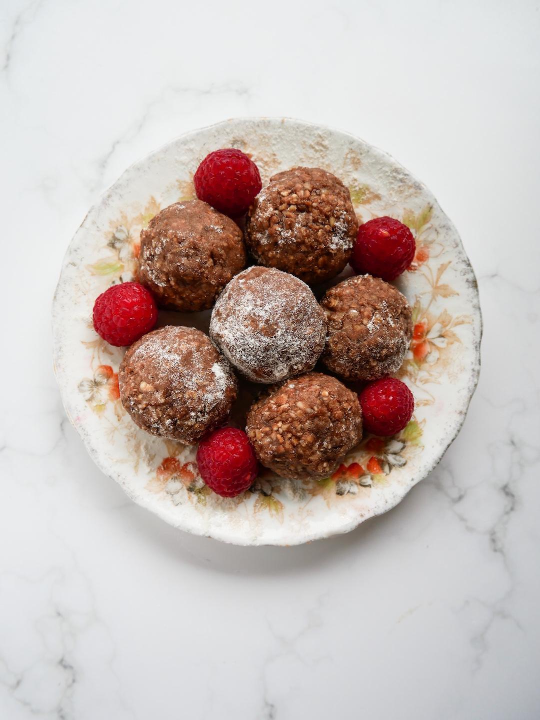 Raspberry and Chocolate Energy Bites